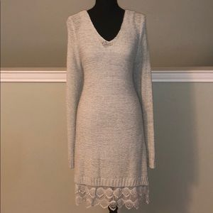 Light Gray Sweater Dress with Lace Detail